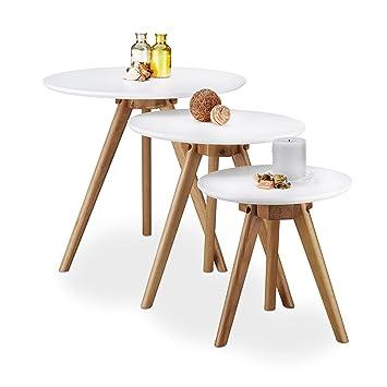 Relaxdays Beistelltisch 3er Set Lackiertes Eichen Holz Weiße