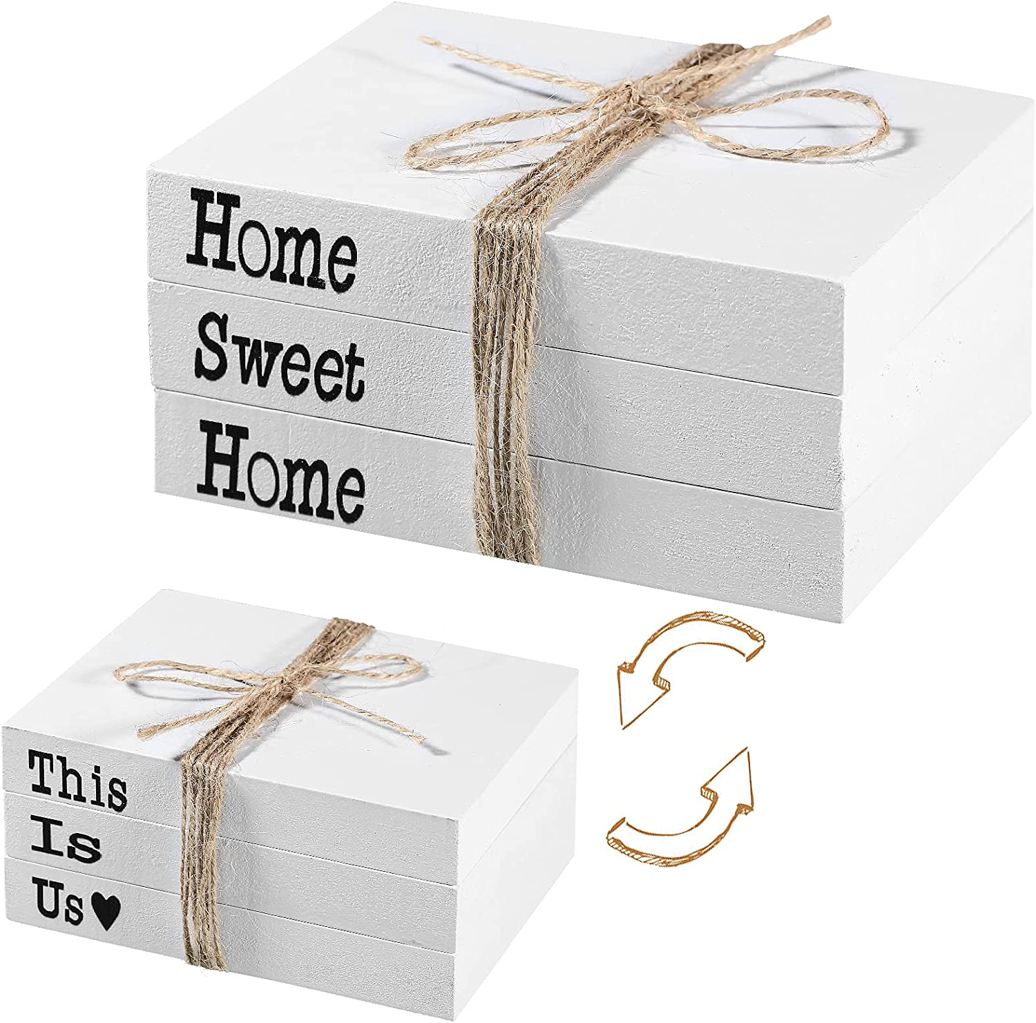 Wooden Decorative Books This is Us Home Sweet Home Stacked Books Rustic Farmhouse Accent Decor for Living Room Coffee Table, Entryway Shelf, End Table, Mantel, Bedroom Night Stand (Set of 3)