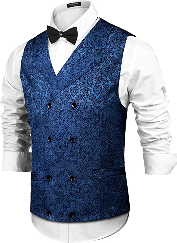 Men's Vintage Vests, Sweater Vests COOFANDY Mens Victorian Vest Steampunk Double Breasted Suit Vest Slim Fit Brocade Paisley Floral Waistcoat $30.99 AT vintagedancer.com