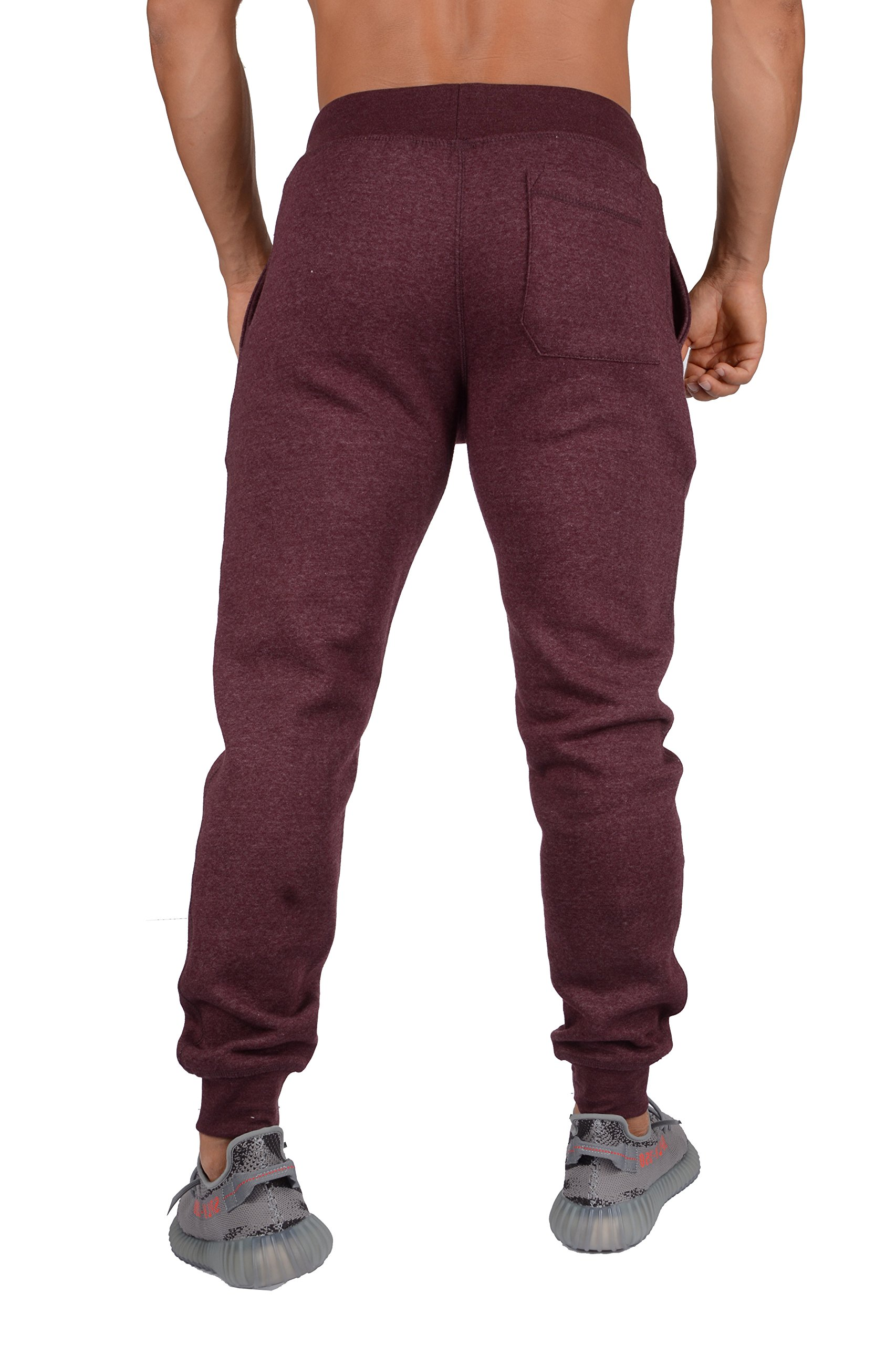 YoungLA Mens Slim Fit Joggers Fitness Activewear Sports Fleece Sweatpants for Gym Training Burgundy Heather Small by YoungLA (Image #4)