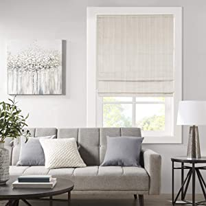 Madison Park Galen Cordless Roman Shades - Fabric Privacy Panel Darkening, Energy Efficient, Thermal Insulated Window Blind Treatment, for Bedroom, Living Room Decor, 27
