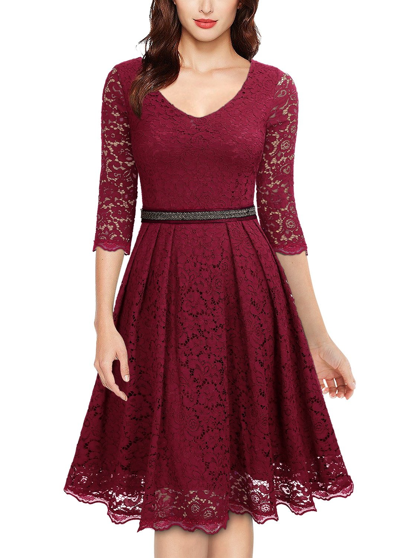 6309207548a4f Miusol Women s Vintage Floral Lace 2 3 Sleeve Bridesmaid Party Dress ...