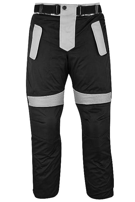 German Wear – Pantalones de motorista Cordura Textiles Pantalón de Motorista Combi Pantalón, negro/gris