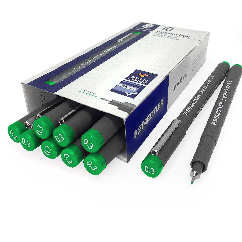 Staedtler 308 Pigment Liner Fineliner - 0.3mm - Pack of 10 - Green