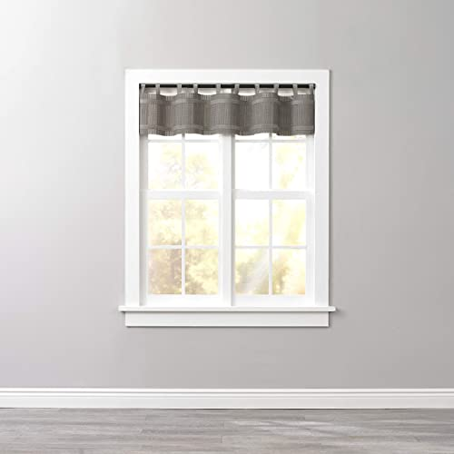 BrylaneHome Bamboo Tab-Top Valance Curtain, Light Gray
