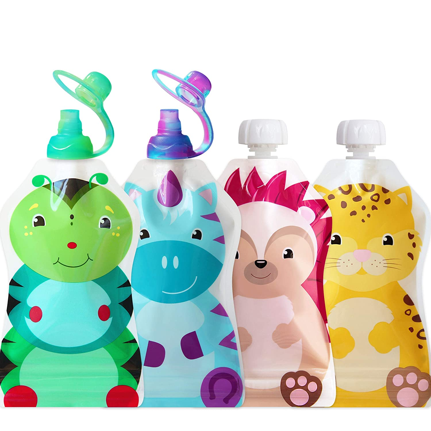 ChooMee Reusable Baby Food Pouch Starter Set, SnakPack | 4 CT, 5 oz | Includes SoftSip Pouch Tops, 2CT, Green Purple