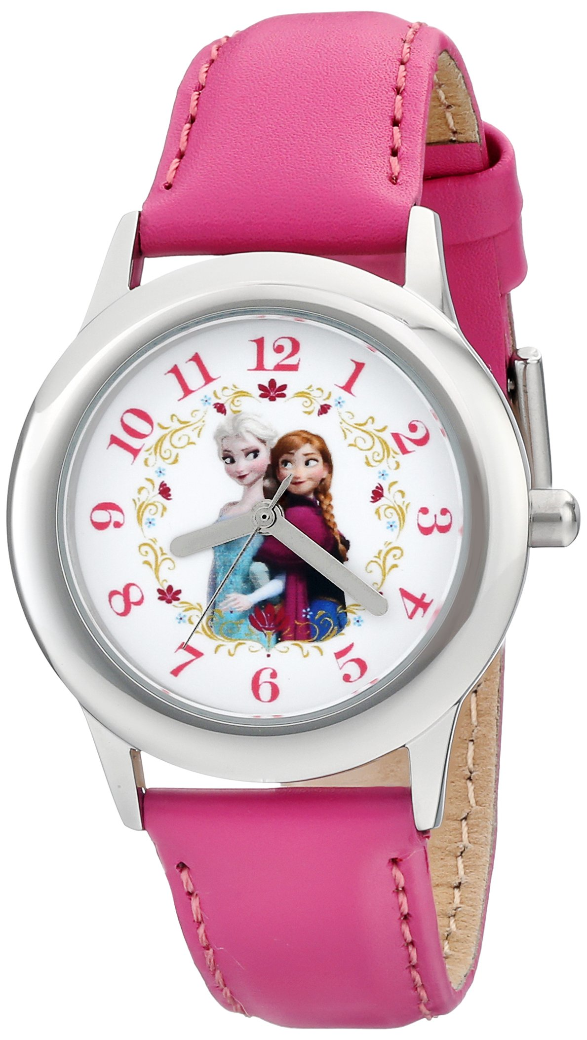 Disney Kids' W001793 ''Frozen Elsa and Anna'' Stainless Steel Watch with Pink Leather Band by Disney