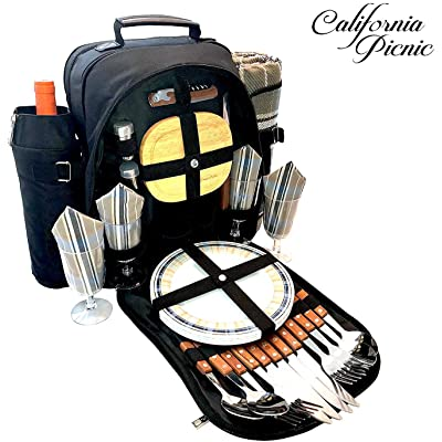 Picnic Backpack for 4   Picnic Basket   Stylish All-in-One Portable Picnic Bag with Complete Cutlery Set, Stainless Steel S/P Shakers   Picnic Blanket Waterproof Extra Large  Cooler Bag for Camping : Garden & Outdoor