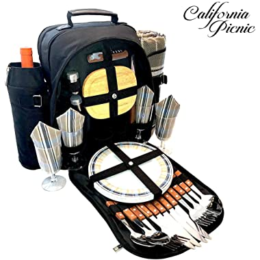 Picnic Backpack for 4 Hiking Backpack Insulated Picnic Cooler Tote Bag | Wooden Cutlery Set Stainless Steel Shakers | Waterproof Picnic Blanket Camping Picnic Basket Set for 4 Portable