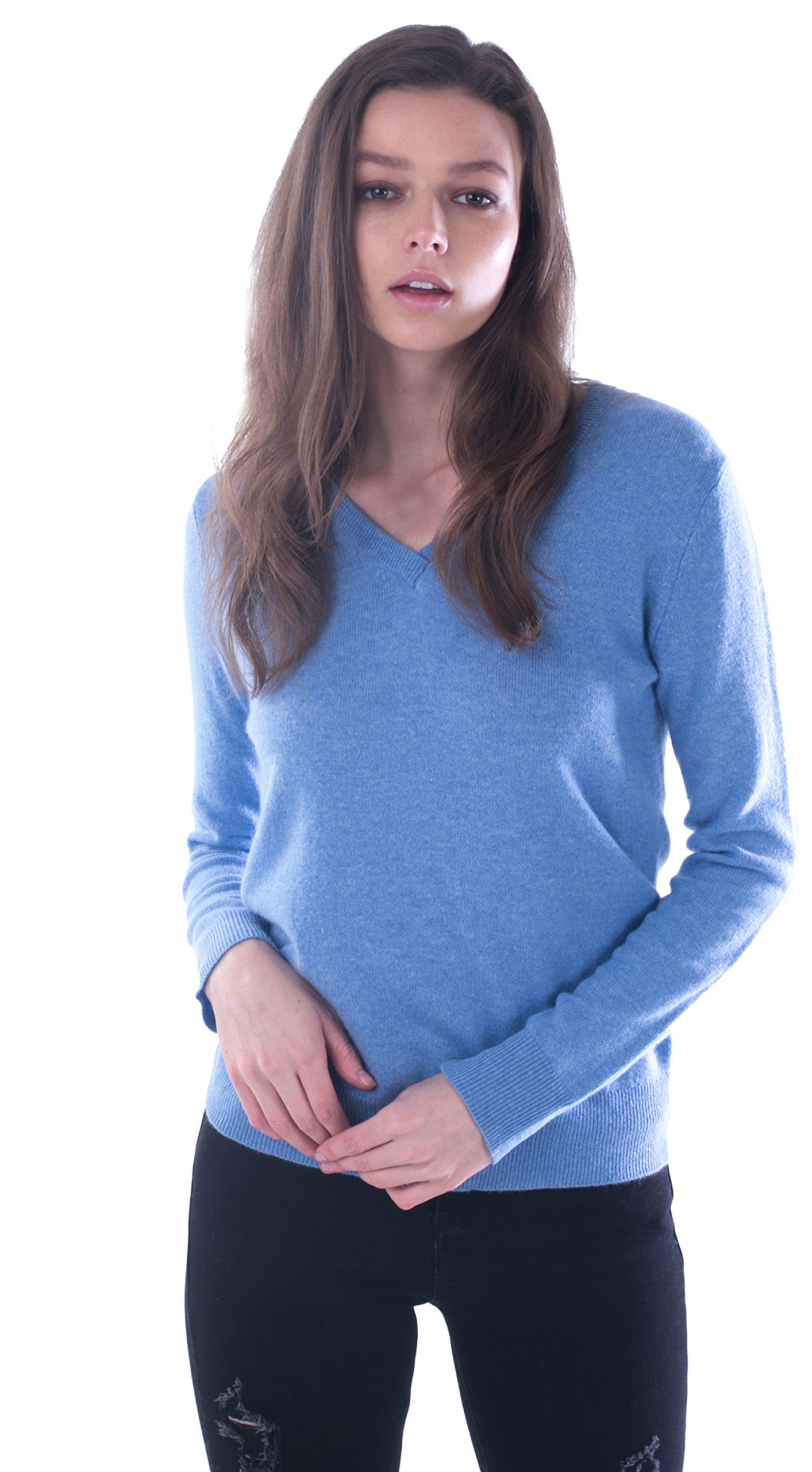cashmere 4 U 100% Cashmere Sweater Slim-Fit Pullover With Elbow Patches For Women by
