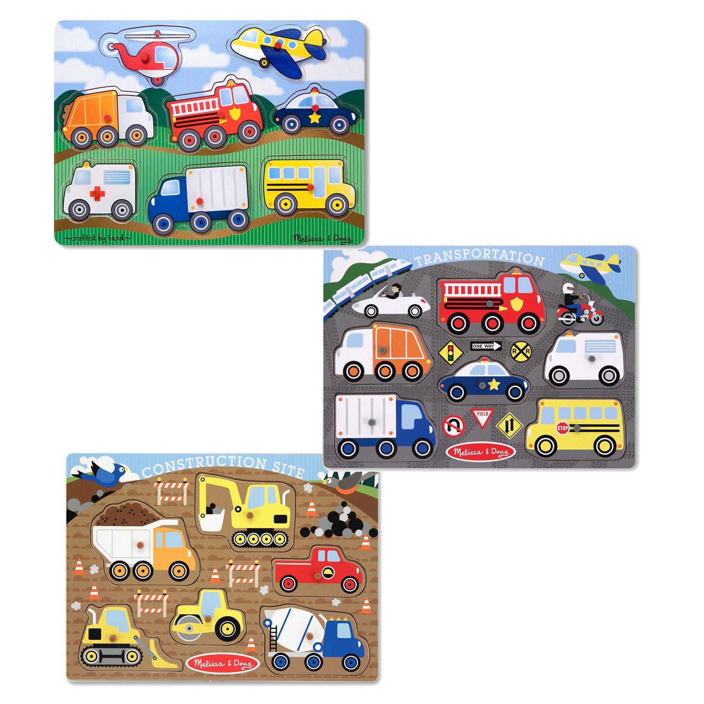 Melissa & Doug Wooden Peg Puzzles Set - Construction Site, Transportation, and Vehicles
