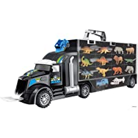 Memtes Dinosaur and Wild Life Animal Safari Car Carrier Transport Truck Toy (Includes 6 Dinosaurs 6 Animal, Jeep and Helicopter)