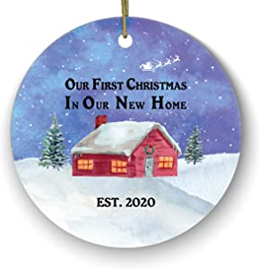 First Christmas in Our New Home Ceramic Porcelain Ornament Housewarming Bridal Shower Wedding House Homeowner 1st Holiday New Property Casa Villa Mansion Buyer Owner Broker Snow Landscape Watercolor