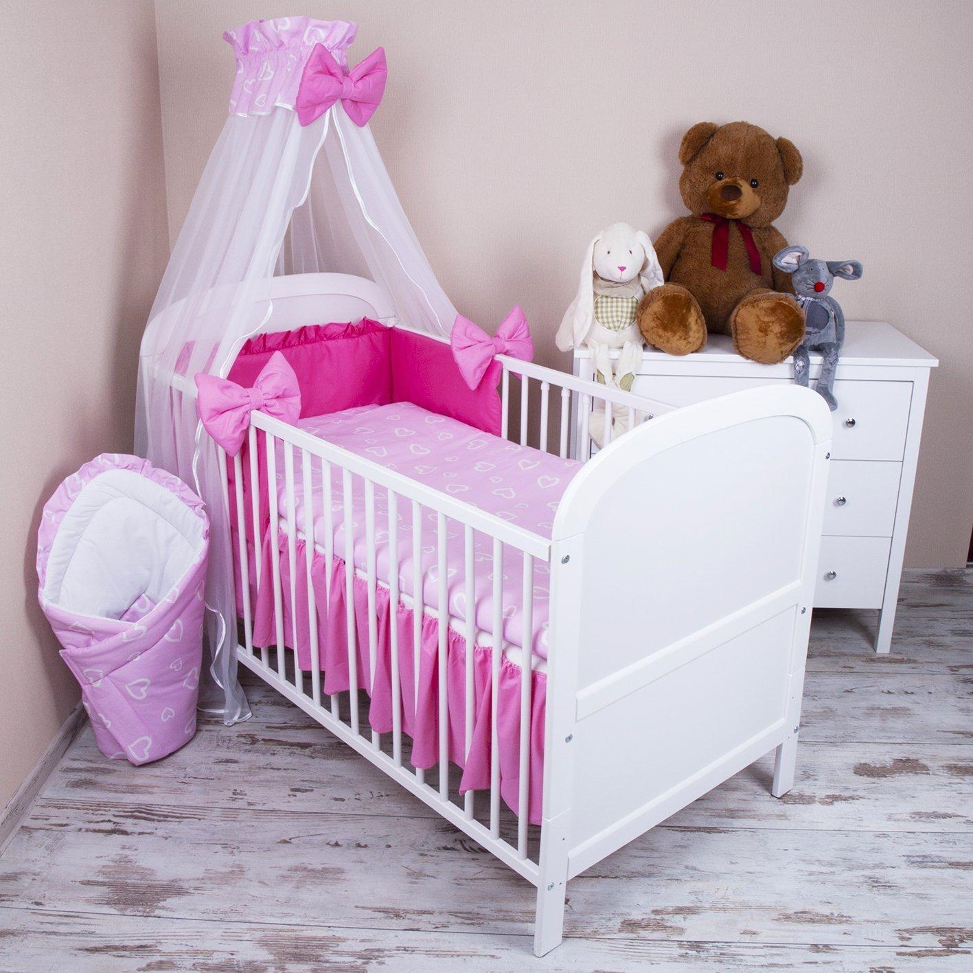 Parure de lit bébé 5pièces avec lit et mousseline de soie drapé 100x 135cm Motif cœurs Rose zieba