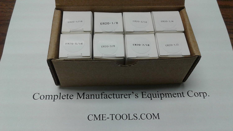 1//16 to 1//2 by 1//16th #ER20-SET8--brand new 8pcs ER20 Collets set