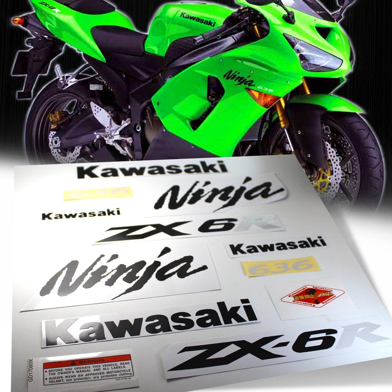 Amazon.com: Full Sticker & Emblem Decal Fairing/Fender Sticker Kit for  98-18 Kawasaki Ninja ZX6R ZXR [Black/Silver]: Automotive