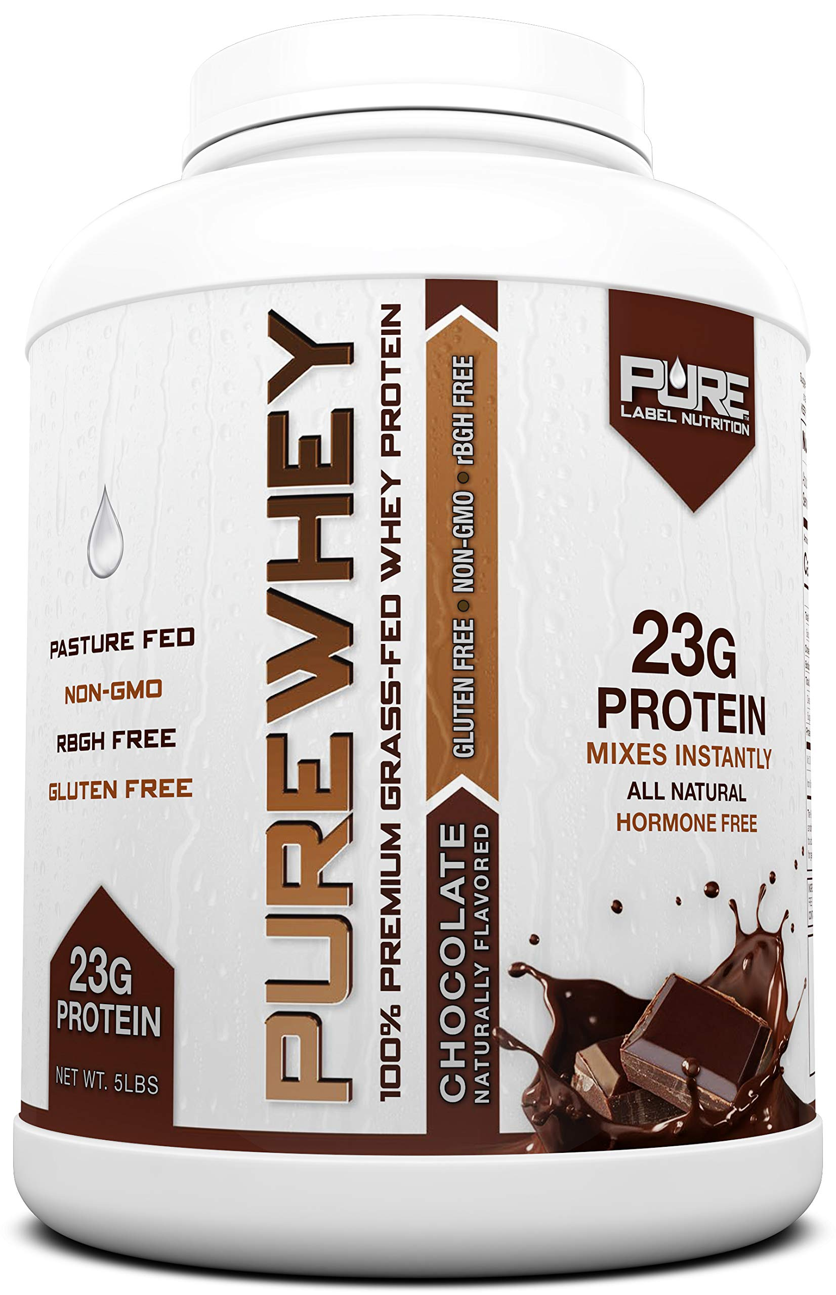 Grass Fed Whey Protein - 5lb Chocolate - 100% Natural, Cold Processed Undenatured Whey w/No Sweeteners or Added Sugars - rBGH Free + GMO-Free + Gluten Free + Preservative Free - Pure Whey by Pure Label Nutrition