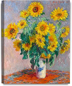 "DECORARTS - Monet Sunflowers, Claude Monet Art Reproduction. Giclee Canvas Prints Wall Art for Home Decor 20x16"""