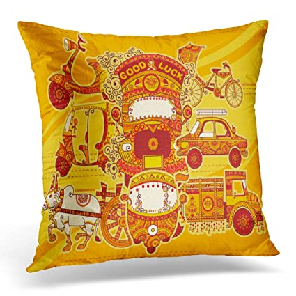 Amazon Golee Throw Pillow Cover Colorful Transport Design Of Cool Indian Style Decorative Pillows