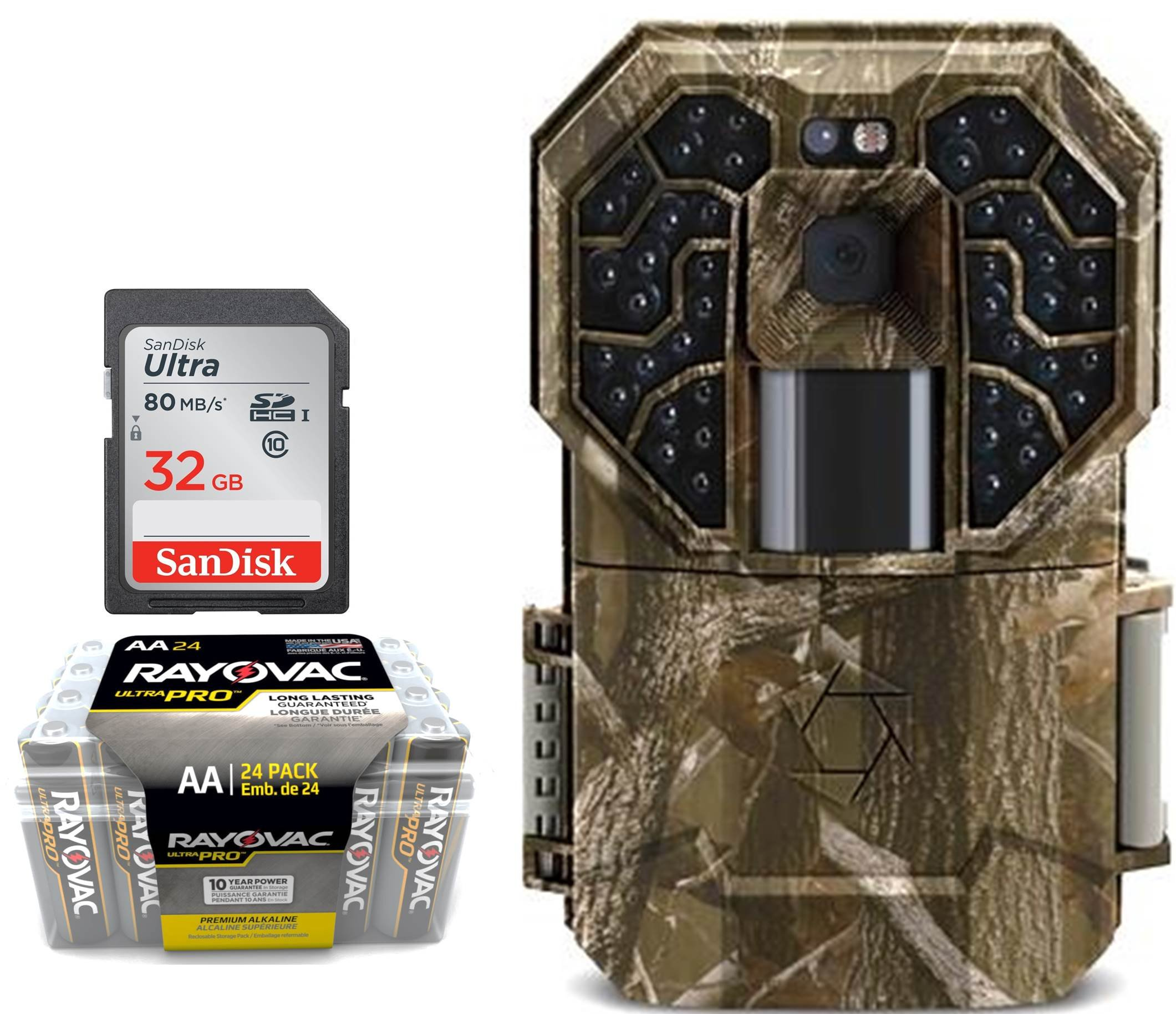 Trail Camera Bundle 3 Items | Stealth Cam G45NG + AA Battery 24 PK + 32 GB SD Card | 14 MP Pictures | HD Video W/ Audio| NO Glow Night Vision Motion Activated Infrared 100 FT Range by Stealth Cam (Image #1)