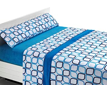 SABANALIA Juego de sábanas de coralina Spring - Azul, Cama 150: Amazon.es: Hogar