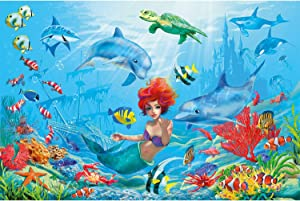 GREAT ART Kid's Room Nursery Poster – Mermaid – Picture Decoration Aquarium Fairy Tale Dolphin Coral Reef Ocean Sea Fish Kids Shipwreck Image Photo Decor Wall Mural (55x39.4in - 140x100cm)
