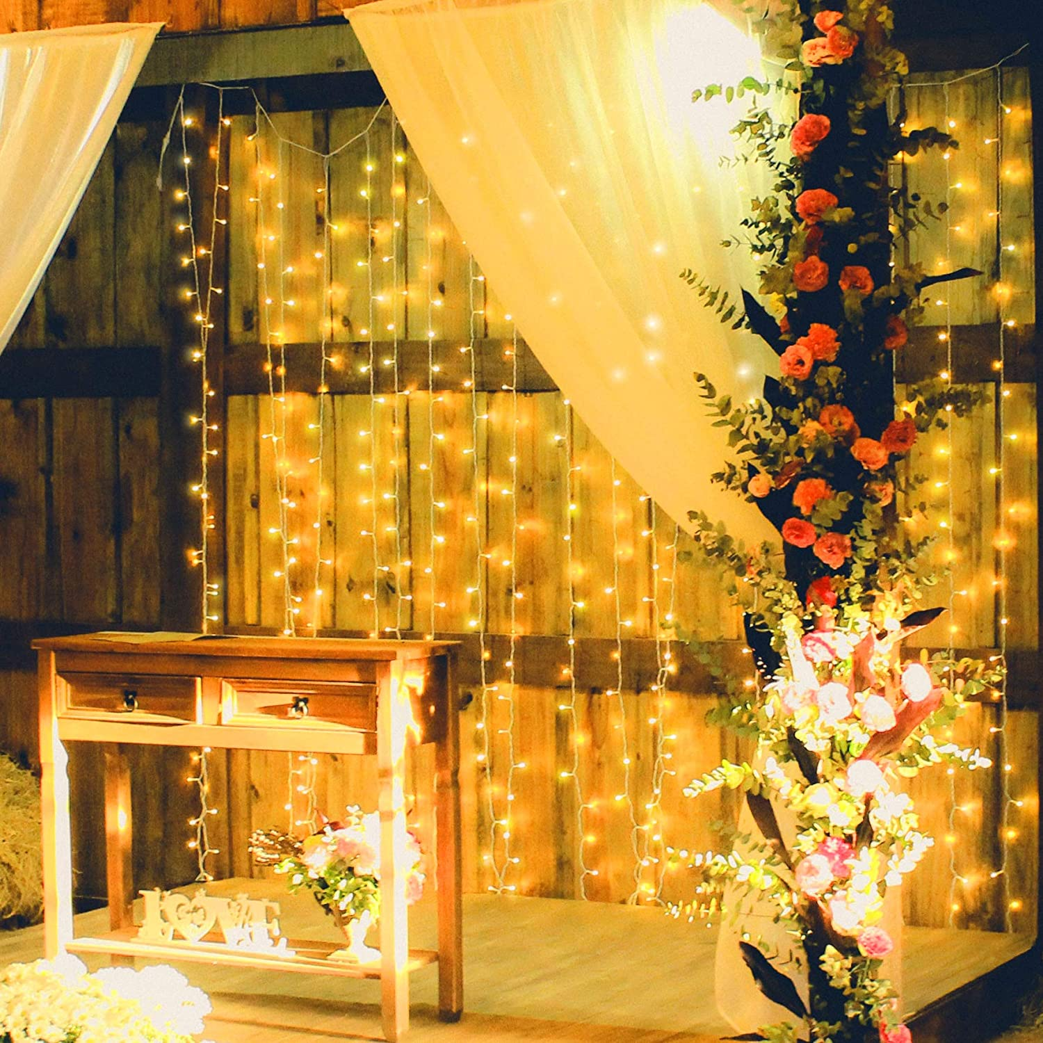 Merkury Innovations 300 LED Curtain Lights w/ Adapter, Hanging LED String Lights,10 Strands, 6.5 ft x 9.8 ft, UL Adapter with 8 Light Modes, Indoor and Outdoor Use