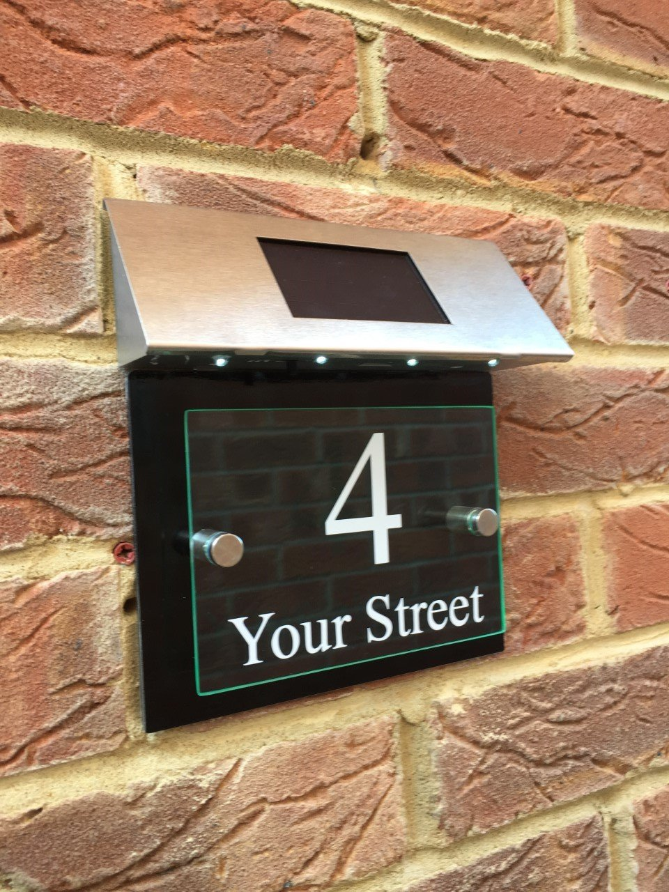 Solar House Sign - Modern Glass Effect Acrylic Front Plaque - Gloss Black back panel Signs4home
