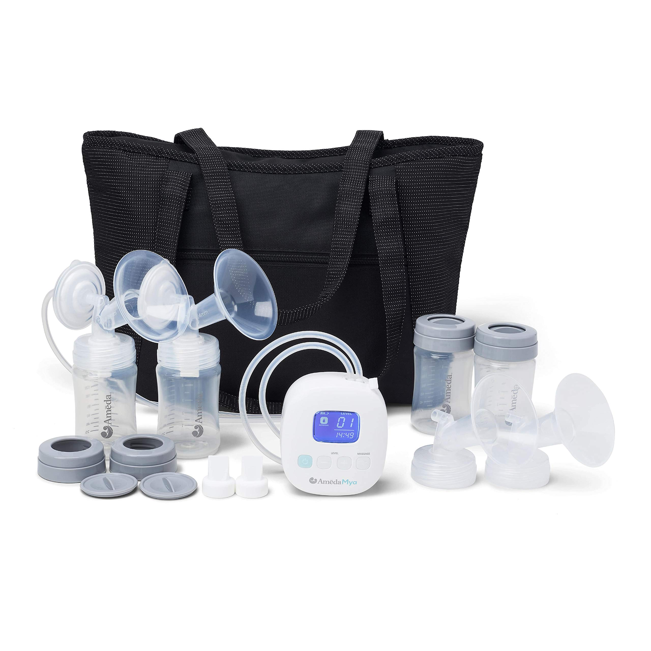 Ameda MYA Portable Hospital Breast Pump with Large Tote, Includes 24mm Flanges, Freezer-Safe Storage Bottles, and a Built-in Rechargeable Battery, White by Ameda