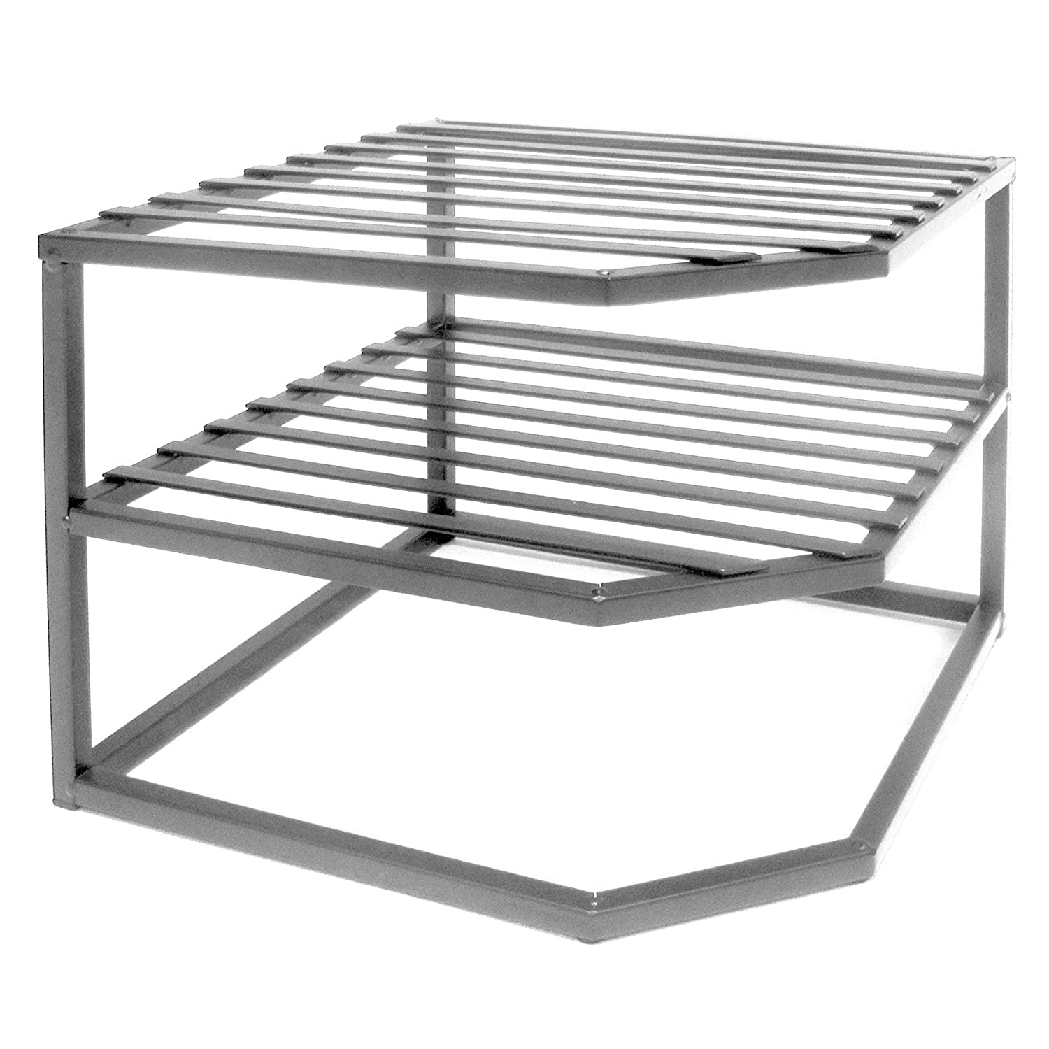 Amazon.com   Seville Classics 2 Tier Corner Shelf Counter And Cabinet  Organizer, Platinum   Cabinet Organizers