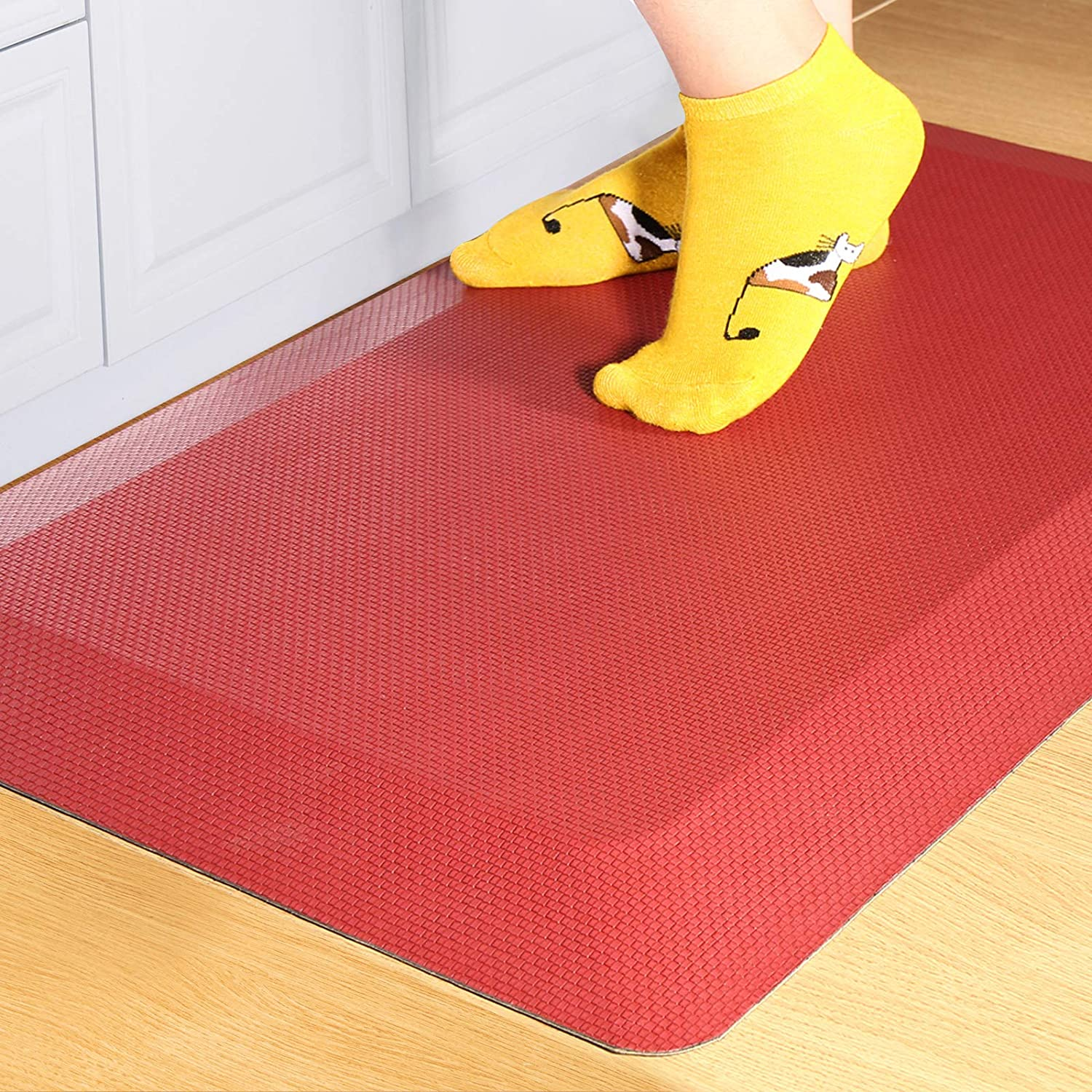 Anti Fatigue Mat Kitchen Mats Cushioned,Thicken Core Foam 20x32x9/10-Inch,Perfect for Kitchens,Standing Desks and Garages,Phthalate Free,Relieves Foot,Knee,and Back Pain(Red,20