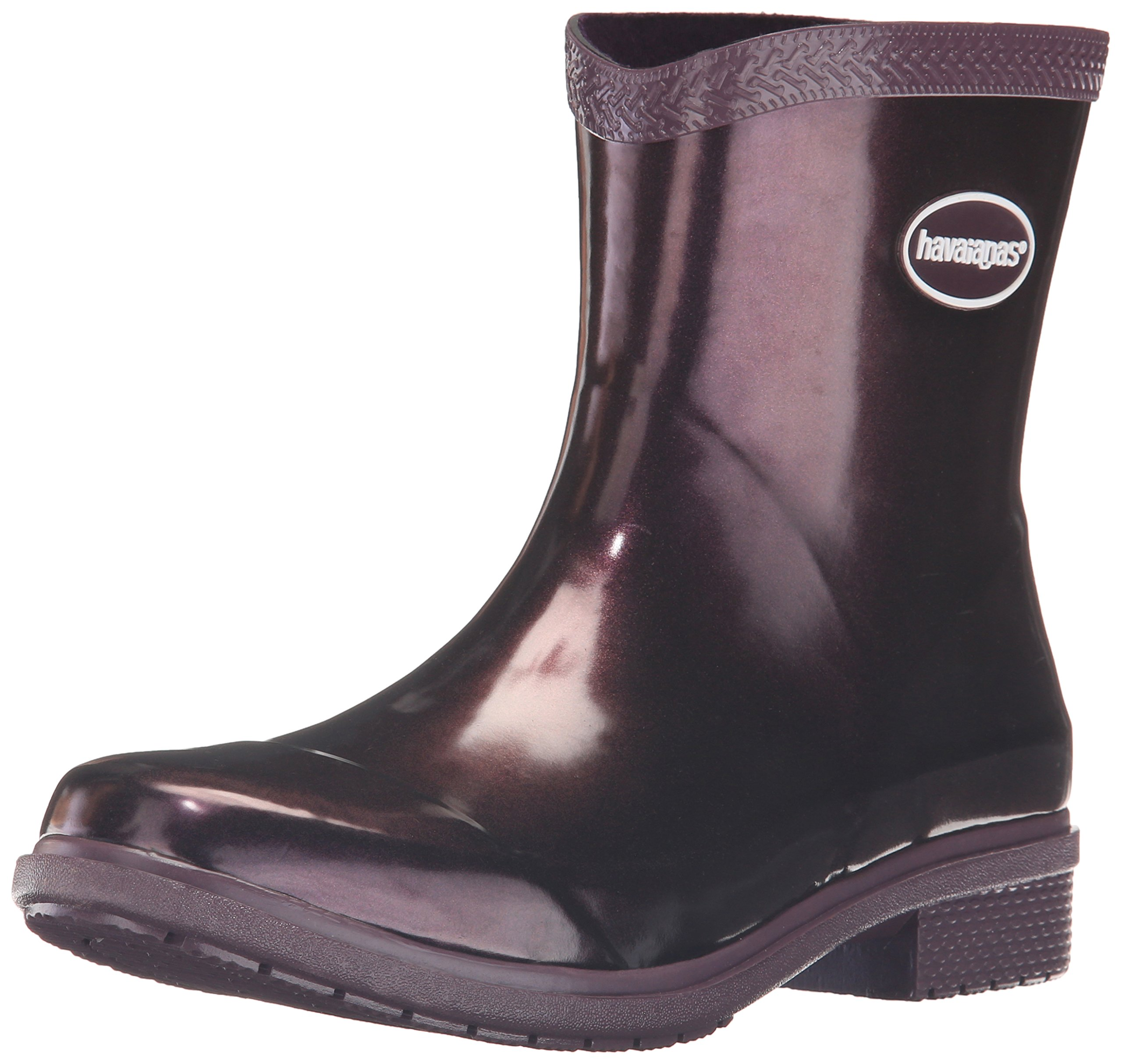 Havaianas Women's Galochas Low Metallic Rain Boots,Aubergine Metallic,35 BR/6 M US