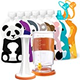 Squooshi Filling Station and Reusable Pouch Starter Kit Bundle | 6 Large and 2 Small Pouches | 2 SoftSip Tops | 12 Caps