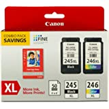 CANEA PG-254XL/CL-246XL/GP-502 Canon PG-245XL/CL-246XL Ink and Photo Paper Glossy Combo Pack, Compatible to MX492, MG3020,MG2920,MG2924,iP2820,MG2525 and MG2420