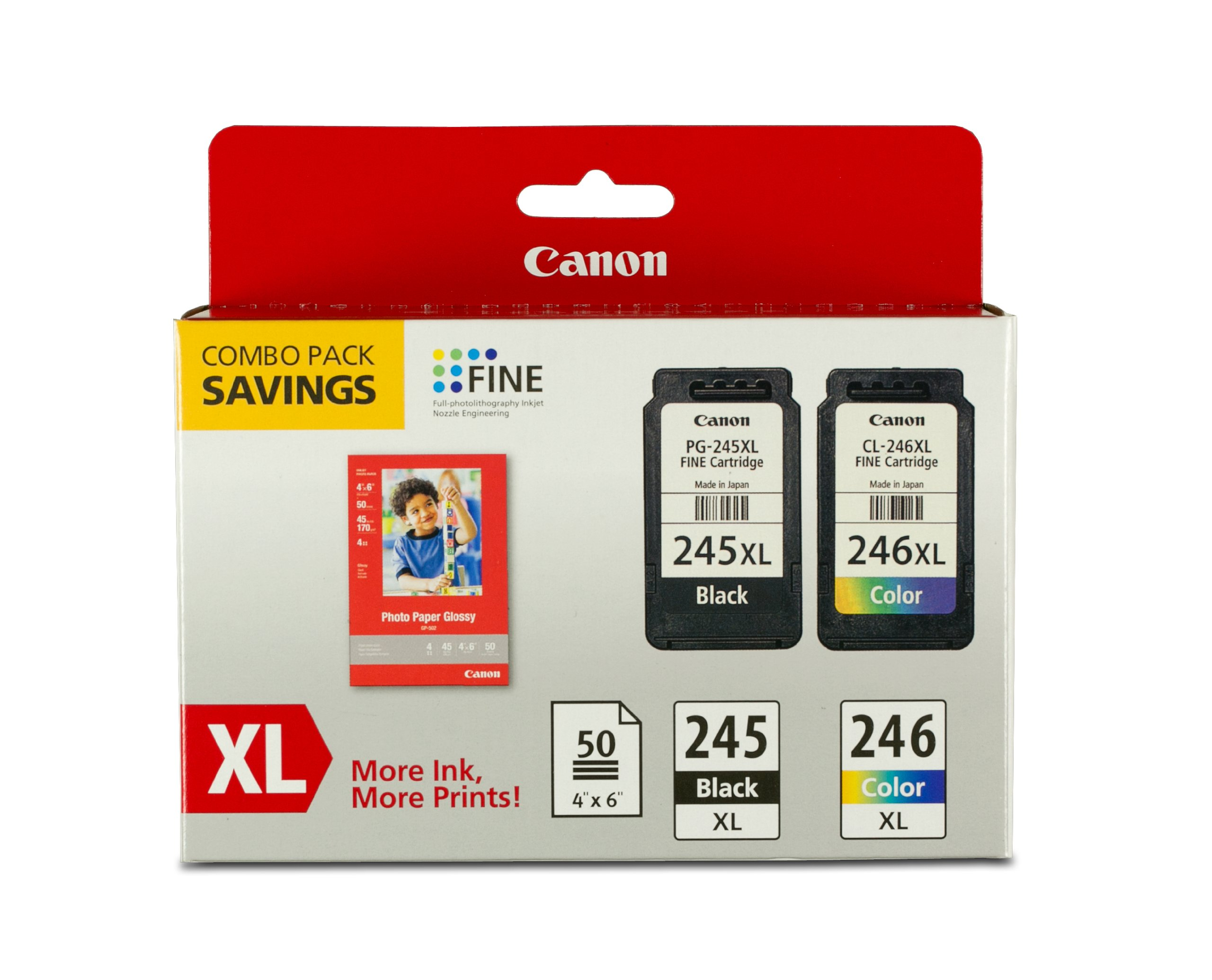 Canon PG-245XL/CL-246XL Ink and Photo Paper Glossy Combo Pack, Compatible to MX492, MG3020,MG2920,MG2924,iP2820,MG2525 and MG2420 by Canon