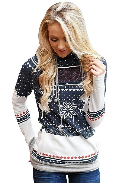 ISSHE Navidad Sudaderas con Capucha Mujer Sudadera Estampadas Ciervo Chica Hoodies Oversize Pullover Juveniles Camisas Camisetas