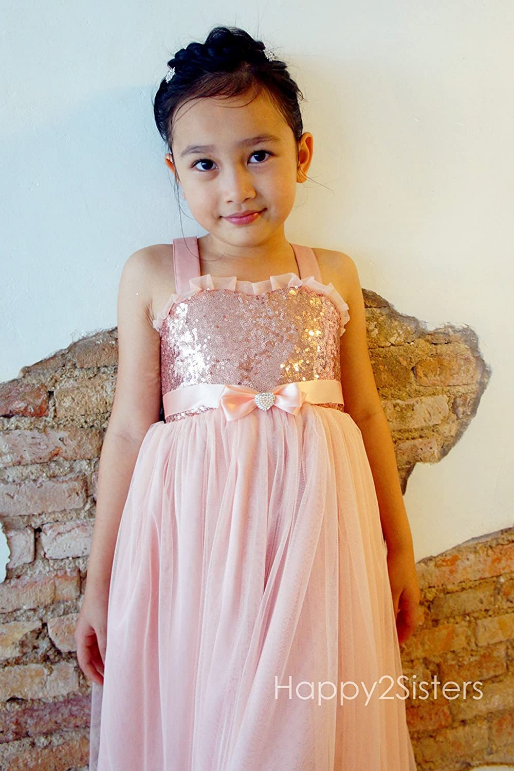 38dca1360e1 Amazon.com  Rose gold flower girl dress Blush flower girl dress Flower girl  dress wedding Girl Christmas dress  Handmade