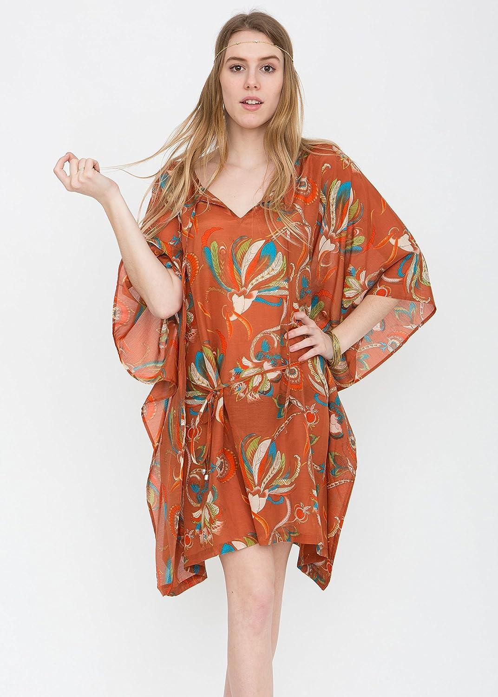 V-Neck Kaftan in Cotton and Silk Blend