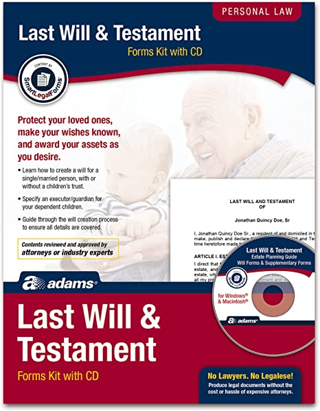 Adams Last Will and Testament Kit Forms and Instructions K307 Includes CD