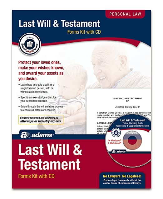 AmazonCom  Adams Last Will And Testament Kit Forms And
