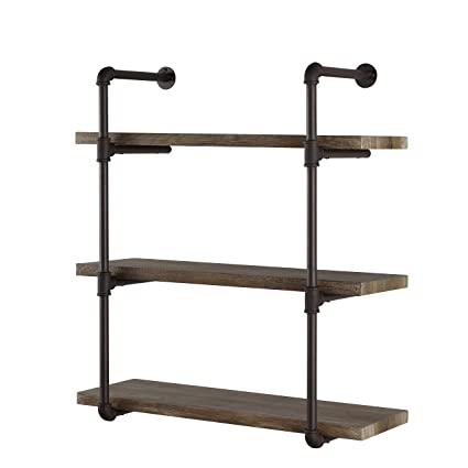 Decorative Floating 3 Tier Wall Mounted Hanging Pipe Shelves   Rustic ,  Urban And Industrial