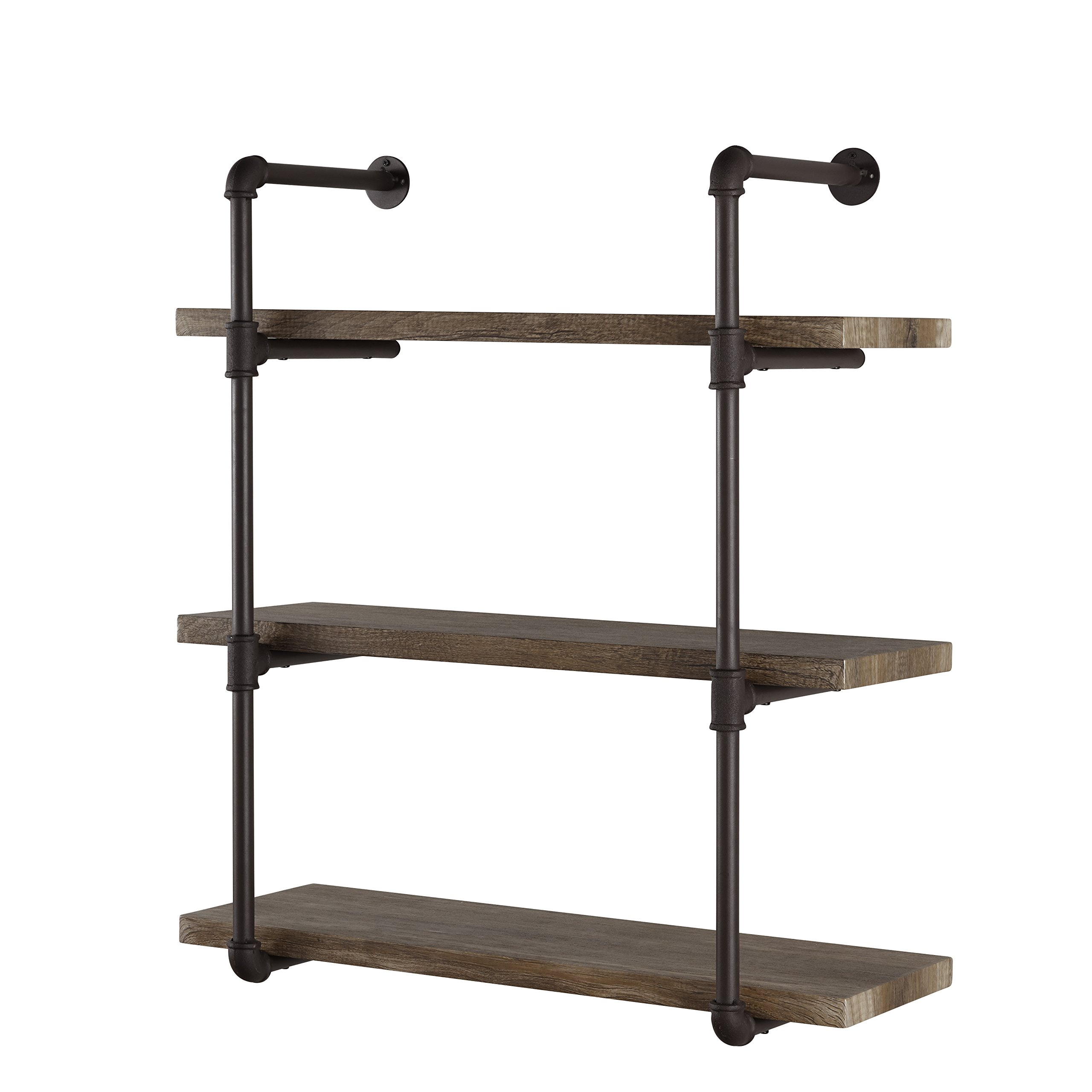 Decorative Floating 3-Tier Wall Mounted Hanging Pipe Shelves - Rustic , Urban and Industrial Décor - Perfect for the Living Room, Dining Room, Kitchen, Bedroom, Bathroom, Nursery or Office. Brown