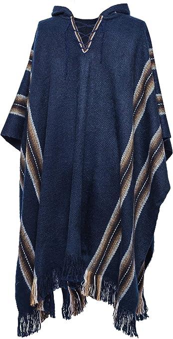 Gamboa - Poncho Rústico de Alpaca con Capucha - Azul Oscuro con Rayas en Tonos Marrones