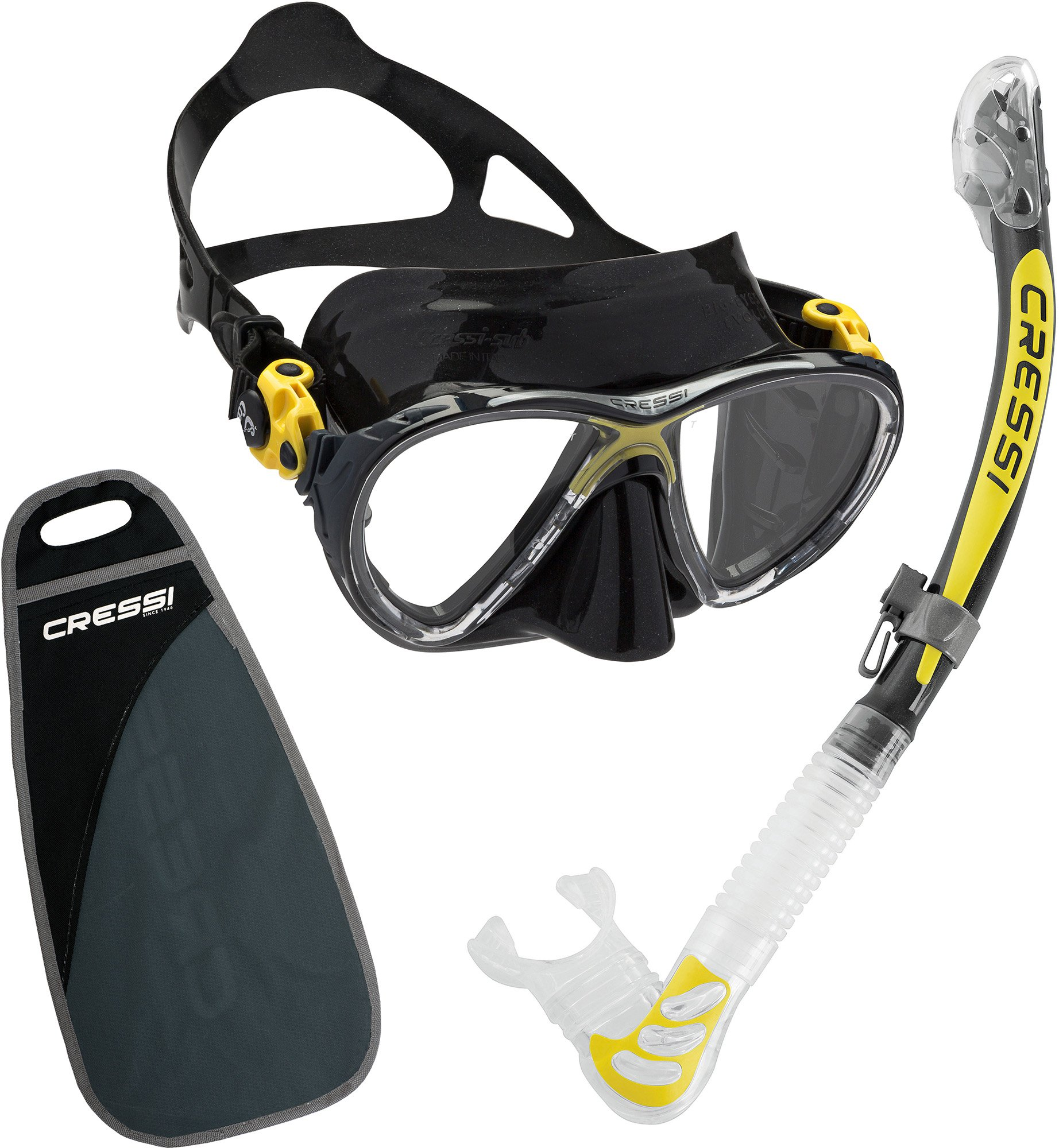 Cressi Big Eyes Evolution & Alpha Ultra Dry, Black/Yellow