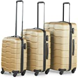 "VonHaus Luggage Set of 3 ABS Lightweight Hard Shell Champagne Gold Suitcase - 4 Wheel 360° Spinner - Cabin Travel Trolley – (21"" 25"" 29"")"