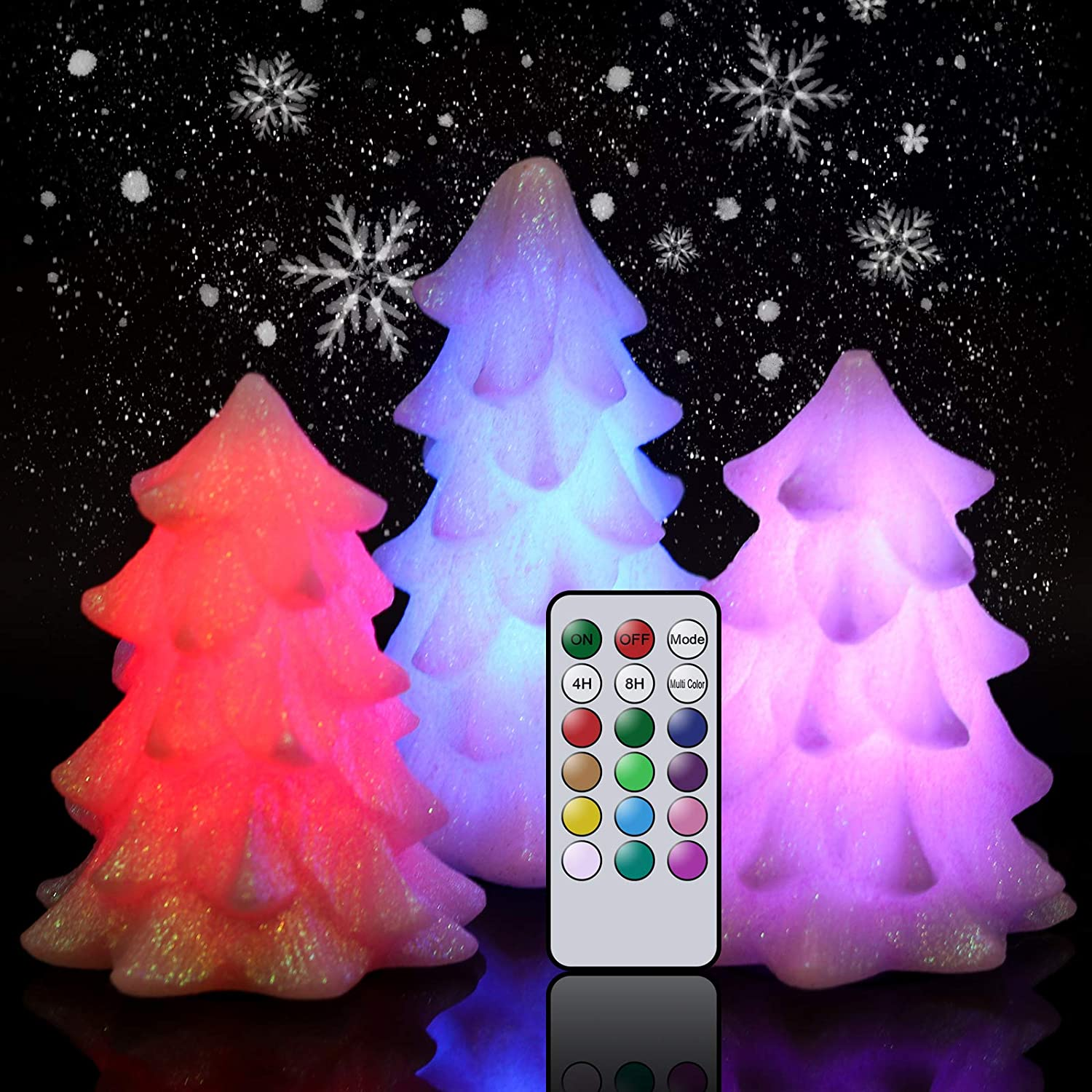 Wondise Glittering Christmas Tree Shaped Flameless Flickering Candles with Remote Timer, Multi Color Changing Battery Operated Wax LED Candles for Christmas Home Decoration Gift(White, Set of 3)