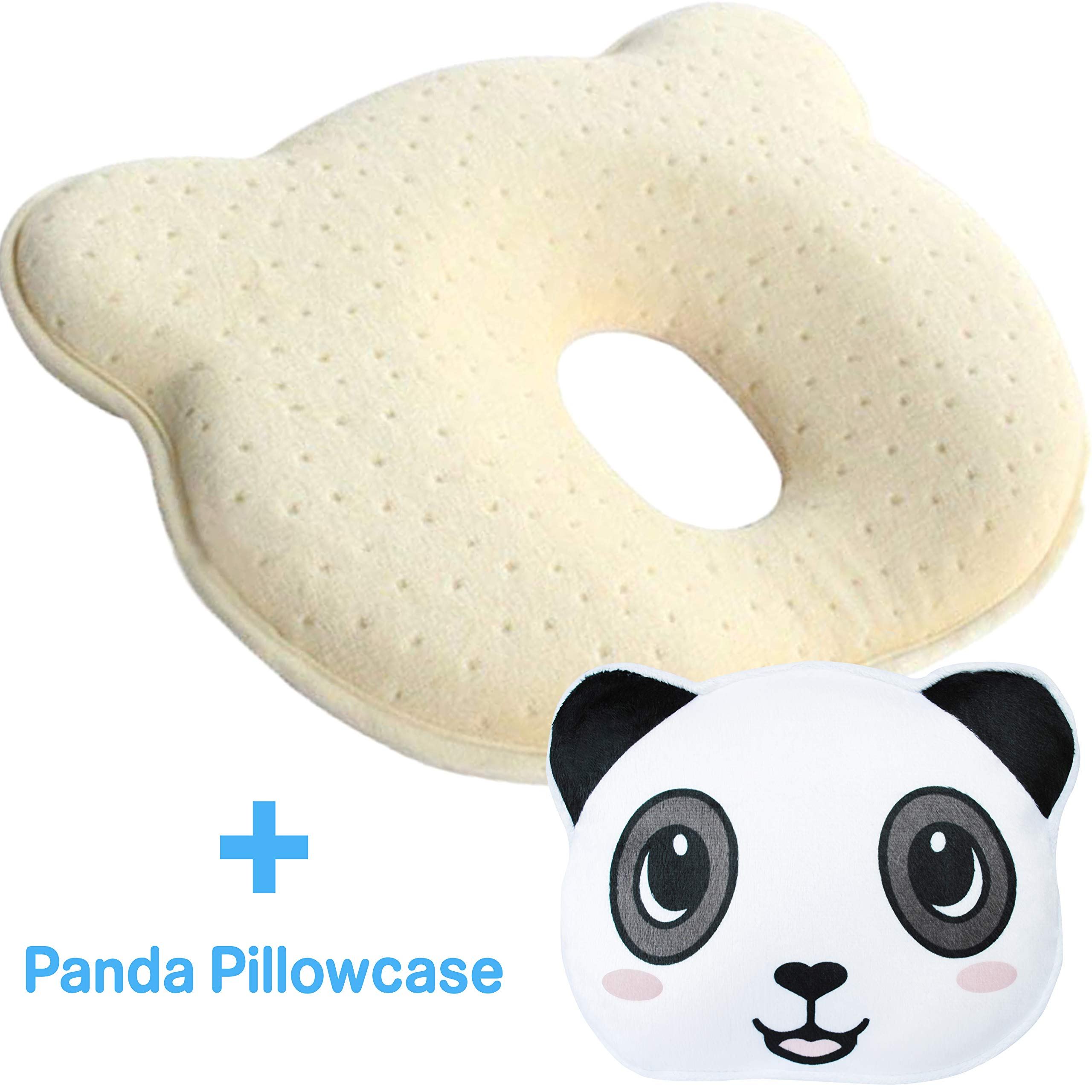 Newborn Baby Head Shaping Pillow, Prevents & Corrects Flat Head Syndrome | Supports Healthy Neck and Spine Development | Memory Foam Pillow with a Washable Panda Pillowcase