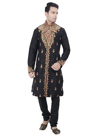 add527ed2 Rajwada Ethnic Indian Designer Kurta Sherwani for Men 2pc Suit (Black,  Small)