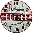 Orologio da Parete in Metallo Stile Vintage Anni 50 con Stampa in Rilievo D.40cm