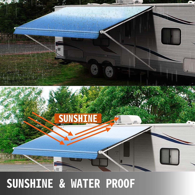 Van VEVOR RV Awning 16 Camper Awning Fabric Durable 15oz Vinyl Roller Tube for RV SUV Trailer Awning Canopy Patio Camping Car Awning Patio Awning Replacement Ocean Blue Fade
